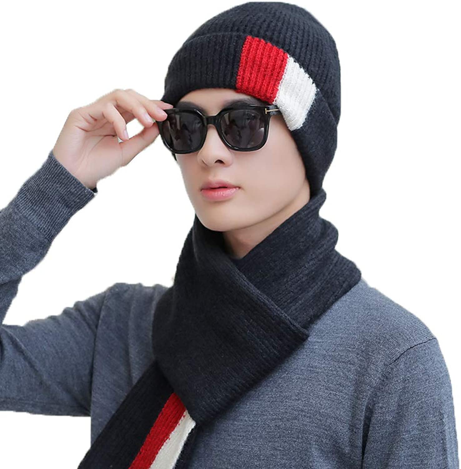 Hat, Men Winter Solid color Knitted Hedging Cap Outdoor Motion Keep Warm Head Cap (Set of 2) (color   A)