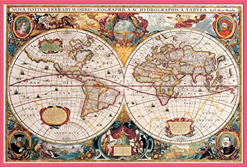 Cartes Poster Carte du monde antique + accessoires Kunststoff-Rahmen Rosa