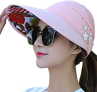 Sun Visor Hats for Women Large Wide Brim UV Protection Summer Beach Packable Cap