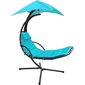 Devoko Patio Hammock Lounge Chair Outdoor Hanging Chaise Lounge Swing Chair for Adults Backyard Garden Deck Canopy Umbrella Free Standing Floating Bed Furniture (Blue)