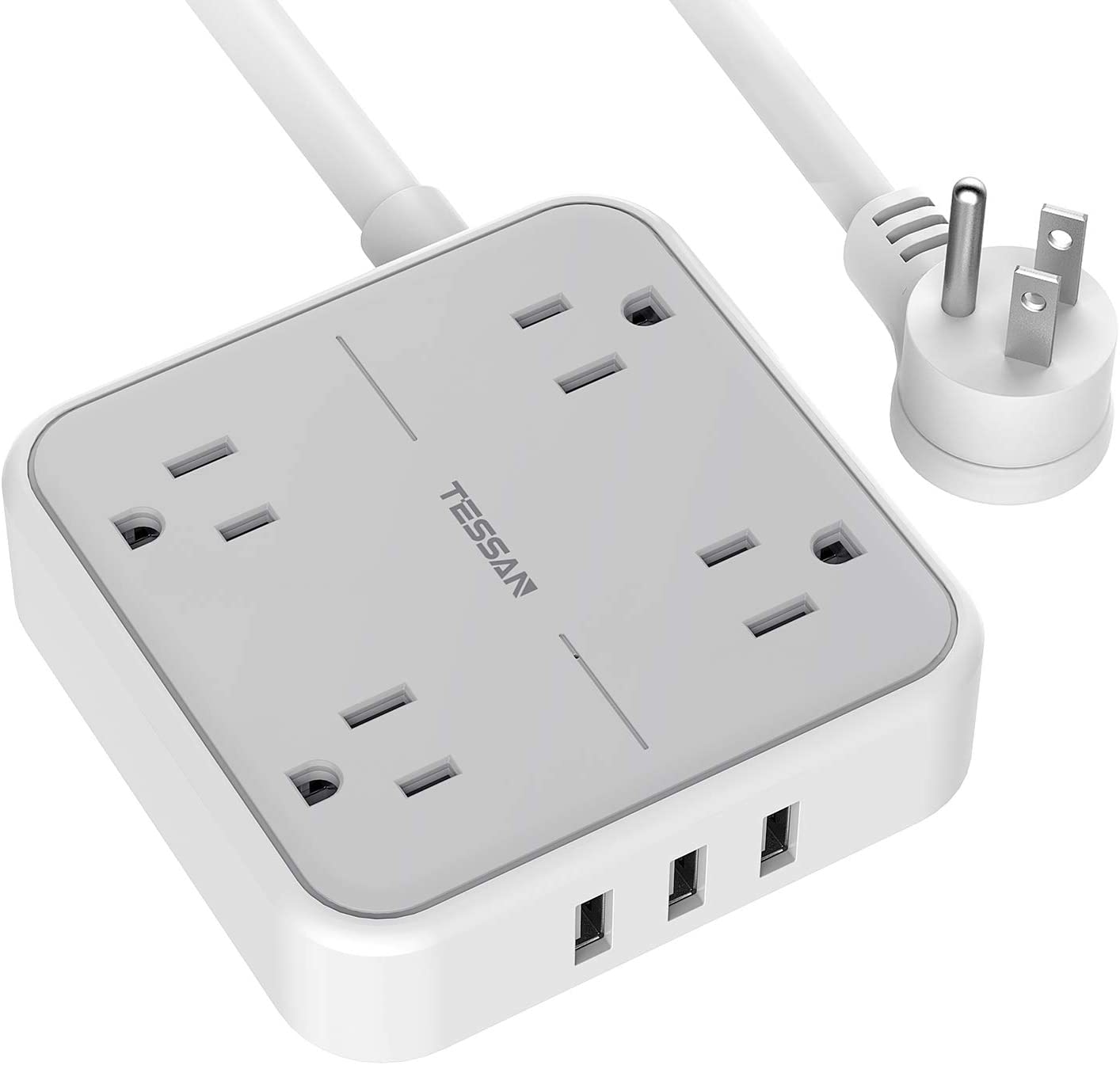 Power Strip with USB Ports, TESSAN Mountable Flat Plug Extension Cord with 4 Widely Spaced Outlets, 3 USB Charger 5 FT Power Cord, Compact Size Charging Station for Travel, Cruise Ship Essentials