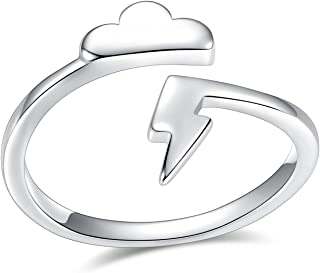 VGstudio Lightning Bolt Ring Cloud Flash Thunder Wrap High Polish Adjustable Ring, Silver Plated