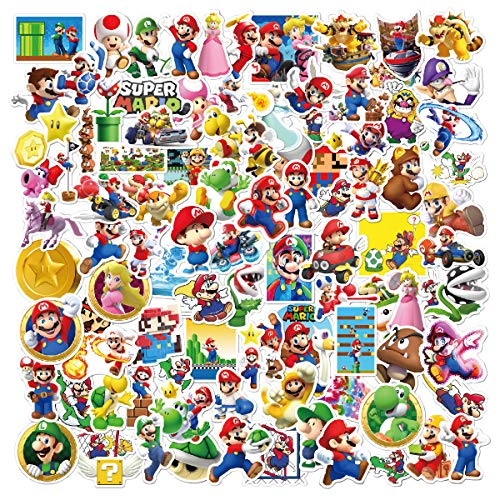 100 Stück Super Mario Cartoon Aufkleber, Vinyl-Abziehbilder für Jugendliche und Kinder, Anime-Autoaufkleber für Skateboards Telefon Laptop Motorrad Fahrradtasche