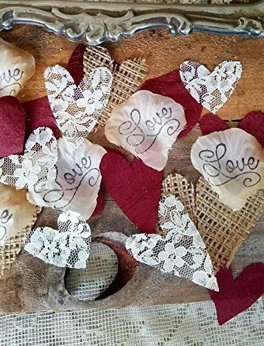 Burlap and Lace Silk Rose Petals Burgundy, Flower Girl throw, rustic wedding aisle Confetti, table scatter, by Burlap And Bling Design Studio