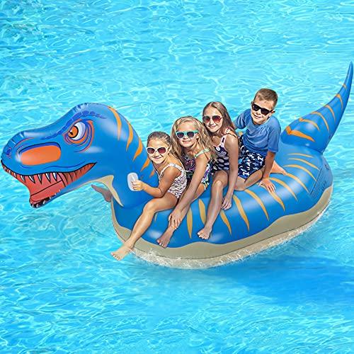 Jojoin Flotador de Piscina Dinosauria, Colchoneta Hinchable, Flotador Gigante, con 2 Agujeros Inflables y 1 Pegatina de Parche, Piscina Playa, Verano para Adultos & niños ( 280 × 130...