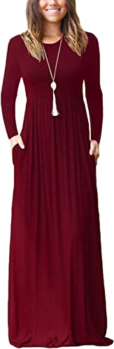 AUSELILY Women Long Sleeve Loose Plain Plus Size Maxi Dresses Casual Long Dresses with Pockets