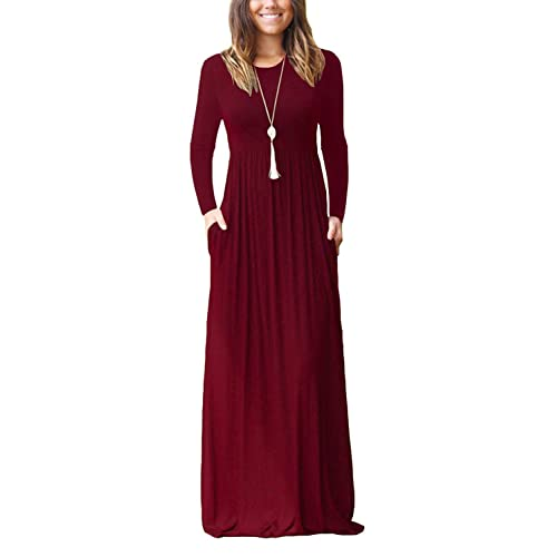 0fa0175c79a AUSELILY Women Long Sleeve Loose Plain Maxi Dresses Casual Long Dresses  with Pockets