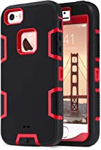 ULAK iPhone SE Case,iPhone 5S Case, iPhone 5 Case, Knox Armor Heavy Duty Shockproof Sport Rugged Drop Resistant Dustproof Protective Case Cover for Apple iPhone 5 5S SE- Red + Black