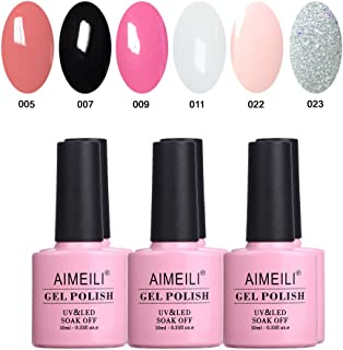 AIMEILI Soak Off UV LED Gel Nail Polish Multicolour/Mix Colour/Combo Colour Set Of 6pcs X 10ml - Kit 1
