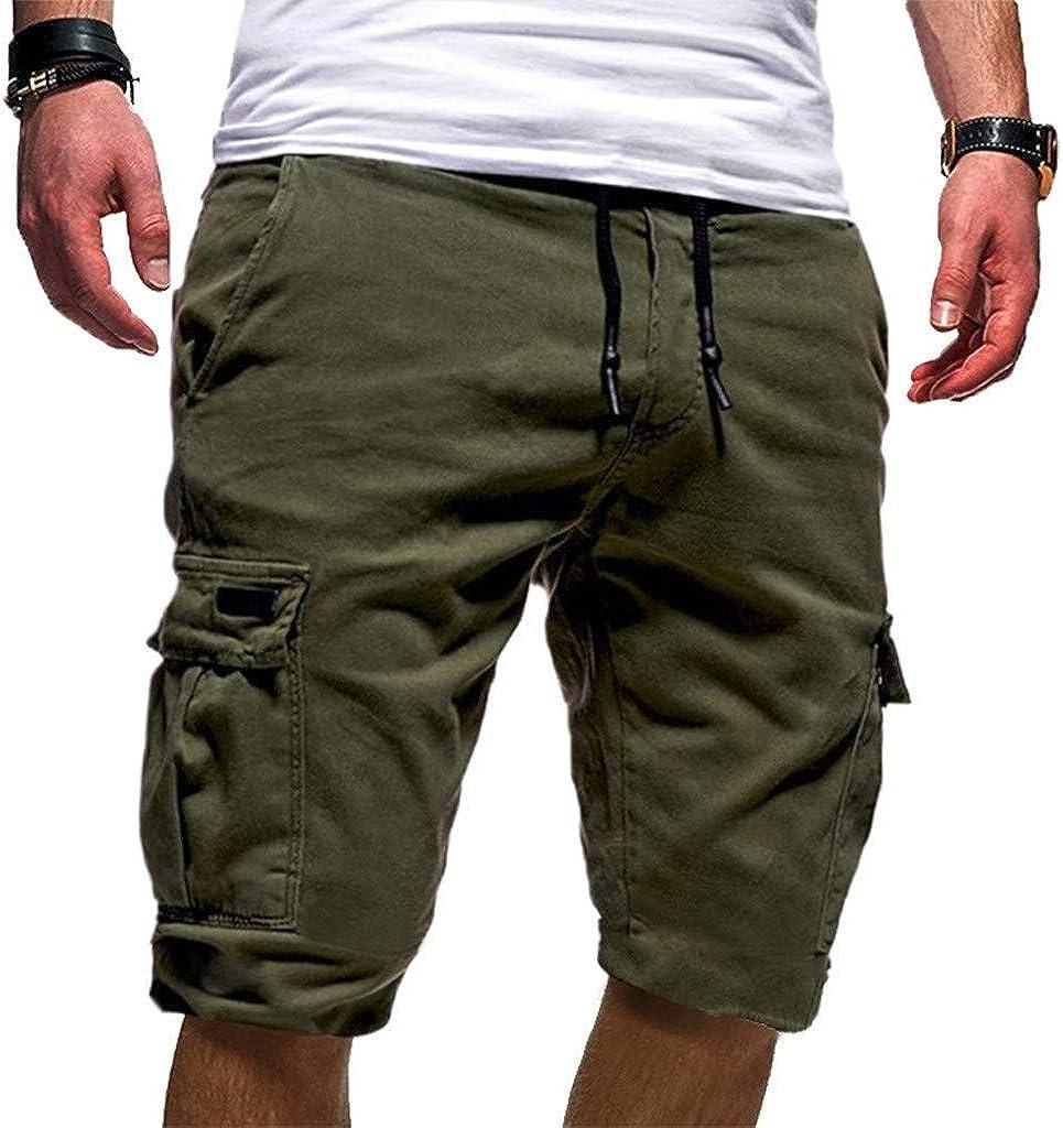 WUAI-Men Outdoors Cargo Shorts Casual Drawstring Elastic Waist Workout Shorts Multi-Pocket Stretchy Twill Summer Shorts