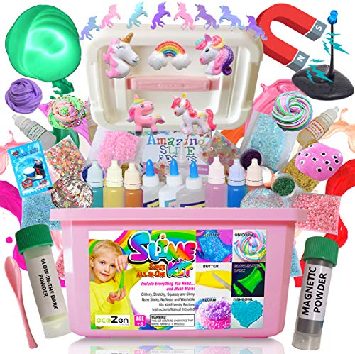 Ultimate Unicorn Slime Kit for Girls - Perfect Toys Gifts for 7 8 9 10 11 12 Year Old Girls Birthday - Best Value DIY Slime Supplies Kits for Making Tons of Various Fail-Proof Slimes