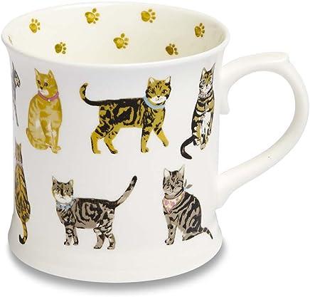 Preisvergleich für Cooksmart Cats on Parade Krugtasse aus feinem Porzellan mit Katzen - Motiv, Mehrfarbig