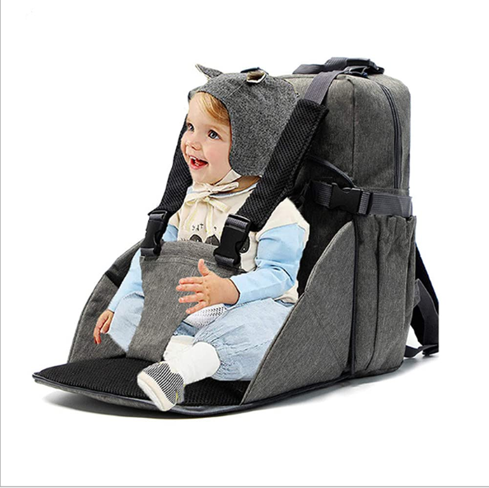 Two-in-One Portable Diaper Bag Backpack, Mummy Bag, Convertible Travel Waterproof Booster Seat and Backpack Diaper Bag, Suitable for Newborn Boys and Girls