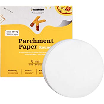 "Katbite Heavy Duty Parchment Rounds 8 Inch 200 Pcs, 5""6""7""9""10""12"" Parchment Paper Rounds Available, Uses for Cake Baking, Air Fryer Liners"