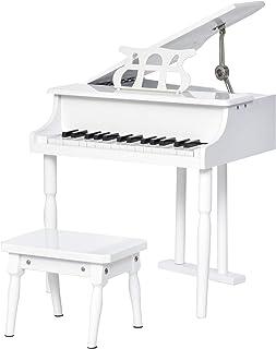 HOMCOM Piano de Cola Infantil con 30 Teclas Taburete y Atril de Partituras Piano para Niños de MDF Instrumento Musical Did...