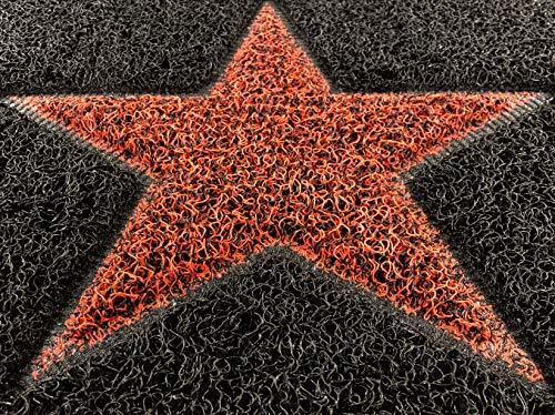 Nicoman - Felpudo de espagueti (75 x 45 cm), color gris oscuro con estrella roja. Felpudo para jardín, recibidor, porche, Aspecto de vinilo., Opt2-gris con estrella negra