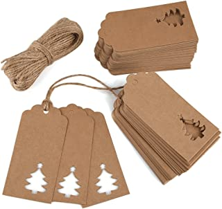 Zealor 100 Pieces Kraft Paper Gift Tags Christmas Tree Design with Twines for Wedding Favor