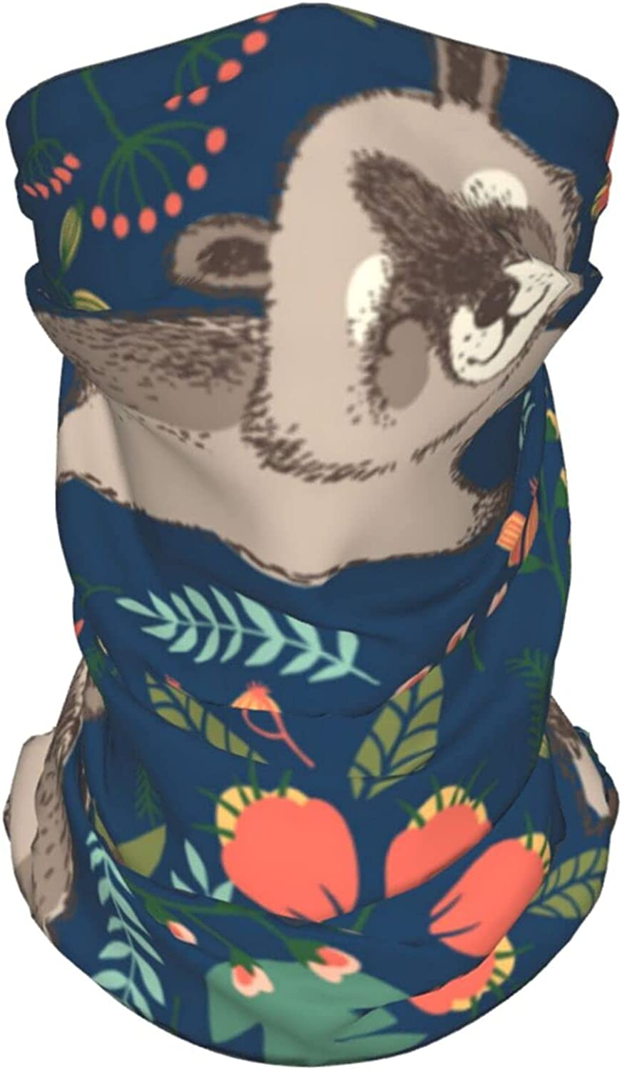 Cute Raccoon Summer Ice Silk Breathable Face Mask Neck Gaiter Scarf Bandanas for Fishing,Hiking,Running,Motorcycle and Daily Wear