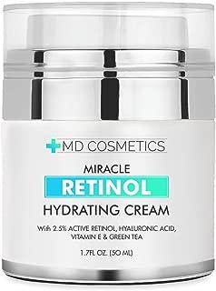 MD Cosmetics Retinol Moisturizer Cream for Face and Eye Area - With Retinol, Hyaluronic Acid, VITAMIN E & Green Tea. Night and Day Moisturizing Cream