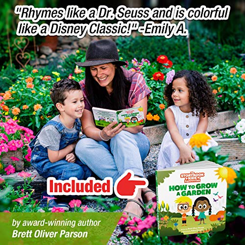Kids Gardening Tools - includes Sturdy Tote Bag, Watering Can, Gloves, Shovels, Garden Stakes, and a Delightful Children's Book