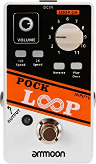 Gecheer Pock Loop Looper Guitar Effect Pedal 11 Loopers Max.330mins Recording Time Supports 1/2 & 2X Speed Playback Revers...
