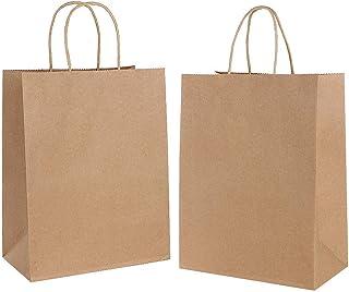 Gaoyong 30 PCS Bolsas de Papel con Asas 15 * 8 * 21CM,Bolsas de Papel Compra,Bolsas Papel Regalo para la Tienda de Comestibles para Hornear Compras Minoristas Boutique (Espesar 130 g / m2)