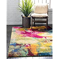 Unique Loom Estrella Collection Colorful Abstract Area Rug, 8 x 11 Feet