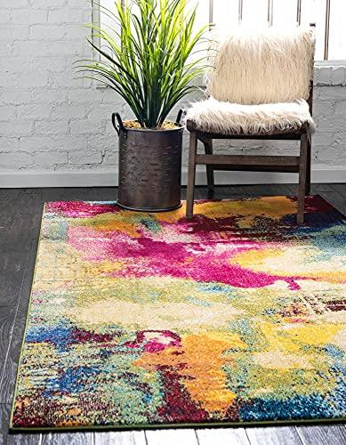 Unique Loom Estrella Collection Colorful Abstract Area Rug, 7 x 10 Feet, Multi/Beige