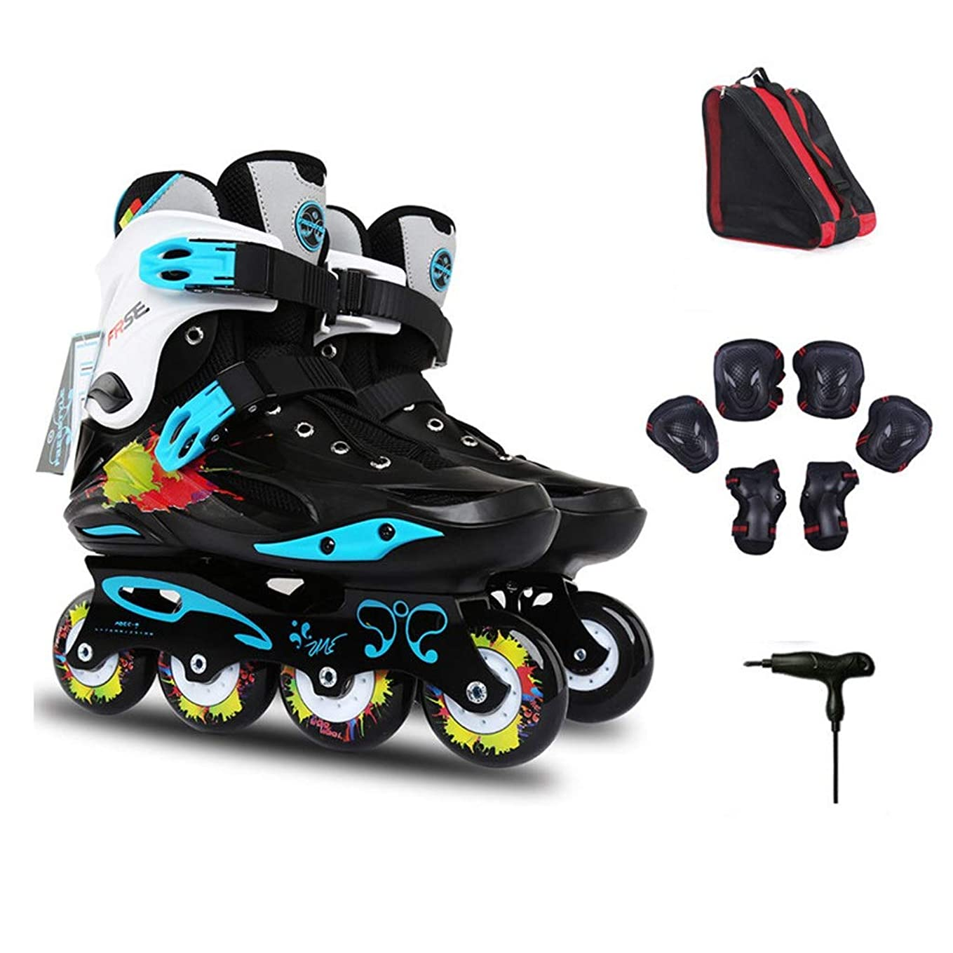 債権者バドミントン再発するAilj インラインスケート インラインスケート、初心者スポーツスピードスケート靴 サイズ35-44黒と白のプロの大人プリント単一行スケート 高構成プロスケート靴 (Color : Black, Size : EU 38/US 6/UK 5/JP 24cm/)