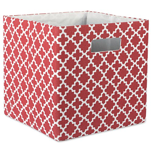 DII Hard Sided Collapsible Fabric Storage Container for Nursery, Offices, & Home Organization, (13x13x13) - Lattice Rust