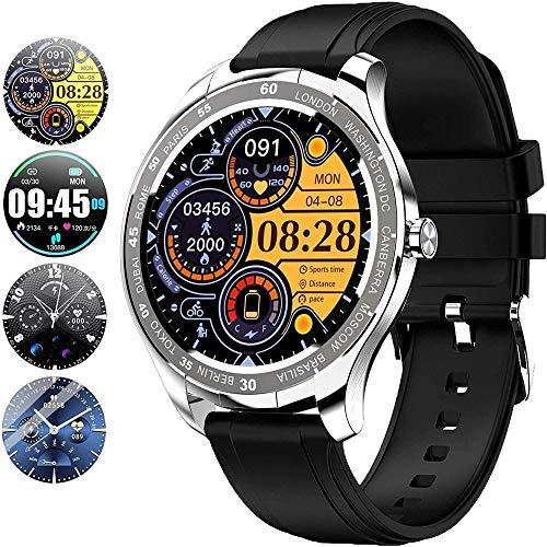 Reloj inteligente IP67 impermeable con pantalla táctil completa de 1.3 pulgadas Bluetooth Smartwatch Fitness Actividad Tracker Monitor de ritmo cardíaco Monitor de sueño Podómetro-plata