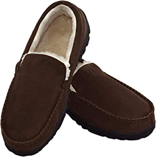 Slippers for Men Indoor Outdoor Slip On Moccasin Slippers with Anti-Slip Memory Foam