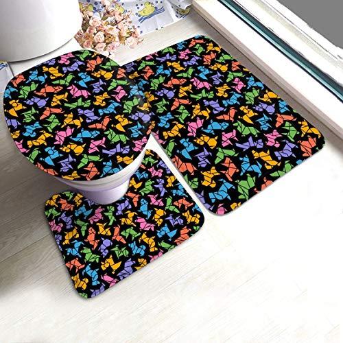 Juego de 3 alfombras de baño de franela antideslizante RedBeans, juego de alfombras de baño, coloridas y de origami para perro, suave y antideslizante, alfombra de ducha