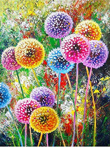 Colorful Diamond Painting Kits, Flower Paint with Diamond by Number Kits 5D Full Drill Round Rhinestone Embroidery Cross Stitch Home Wall Décor Floral 12X16 inch