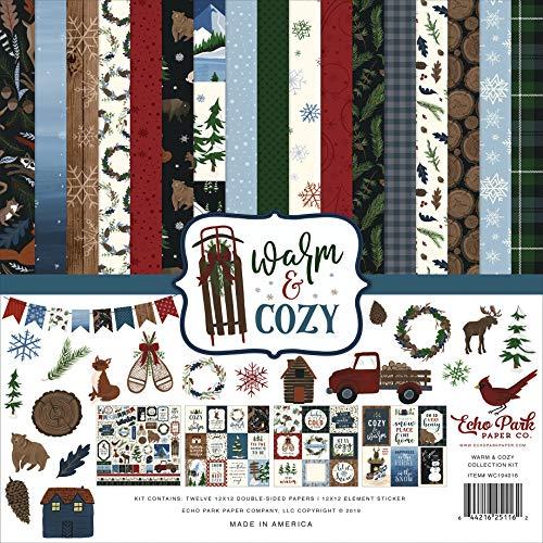 Echo Park Paper Company Warm & Cozy Collection Kit Papier, Grün, Rot, Marineblau, Blau, Holzmaserung