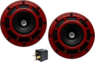 Velocity Dual Super Tone Loud Blast 139Db Universal Euro RED Round Horns (Qty 2) High/Low Tone Twin Horn Kit Pair Compact Very Loud Compatible with Hyundai Genesis Tiburon Accent Veloster Elantra