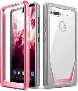 Essential Phone PH-1 Case, Poetic Guardian [Revised Version] [Scratch Resistant] [360 Degree Protection] Full-Body Rugged Clear Bumper Case with Built-in-Screen Protector for Essential PH-1 Pink