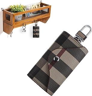 Linsam PU Leather Plaid Key Car Wallets Car Keychain Key Holder Bag Key Purse Pouch