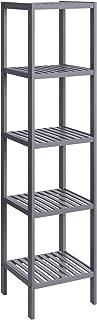SONGMICS 5-Tier Bamboo Bathroom Shelf, Standing Kitchen Rack, 13 x 13 x 57.5 Inces, for Narrow Spaces, Living Room, Hallway Gray UBCB55GY