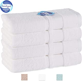GRACE ORCHID Luxury Family Microfiber Towel Set 4 Piece Bath Towels 56x28 Inch-100% Long Staple Cotton Super Soft, Machine Washable, Ultra Absorbent and Hotel spa Collection(White)