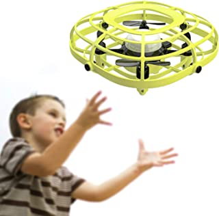UDIRC Flying Ball Drone for Kids, Hand Operated Mini Drone Toys for Boys or Girls with Fan Mode (Yellow)