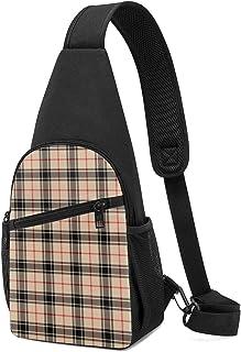 Mochila de invierno a cuadros rojos y negros, color beige, ligera para el hombro, mochila cruzada, bolsa cruzada, para via...