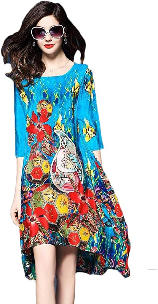 Dongjiguang Dress, Dress Print Loose Color Five-Point Sleeve V-Neck Mid-Skirt 6 Colors 6 Sizes (Color : E, Size : S)