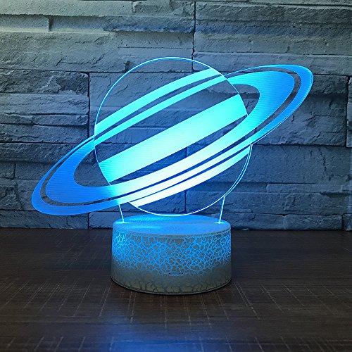 Regalo de Regreso a la Escuela Universo Planeta lampara de Mesa ilusion lampara de Mesa Color cambiante luz de Noche Regalo para ninos Base Blanca