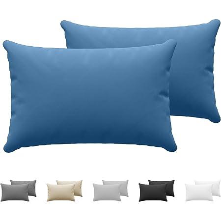 Dreamzie - Set de 2 x Taie Oreiller 40 x 60 cm - Bleu - 100% Premium Coton Jersey 150gsm - Housse de Coussin Résistant et Hypoallergénique