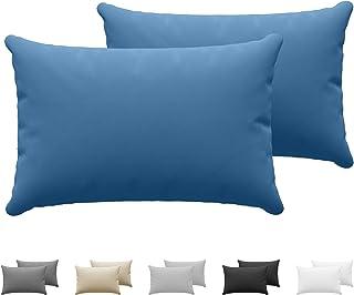 Dreamzie - Set de 2 x Taie Oreiller 40 x 60 cm - Bleu - 100% Premium Coton Jersey 150gsm - Housse de Coussin Résistant et ...