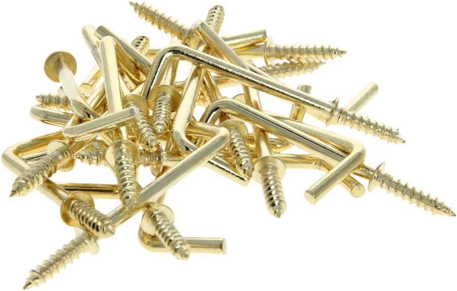 MroMax 20pcs 53mm Length Copper Plated Self-Tapping Right-Angle