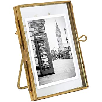 Isaac Jacobs 2x3, Antique Gold, Vintage Style Brass and Glass, Metal Floating Picture Frame (Vertical) with Locket Closure, for Photos, Art, More, Tabletop Display (2x3 Antique Gold)