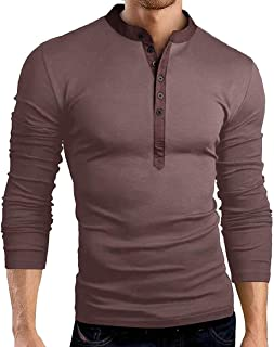 Mens Long Sleeve Casual Solid Slim V Neck Button Up Henley Shirts Tops Black Large
