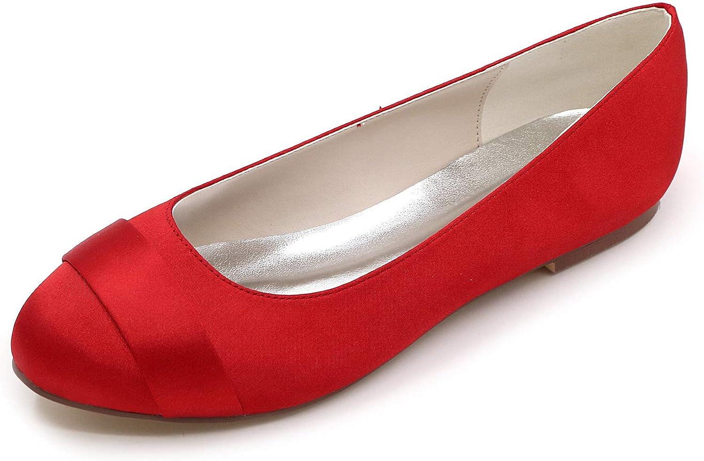 LLBubble Women Comfort Flat Satin Wedding Bridal shoes Low Cut Closed Toe Ballet shoes 9872-01 10 17